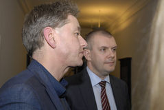 Bjarn Corydon财务大臣(R) Flemming Vinther CFU (L) 图库摄影