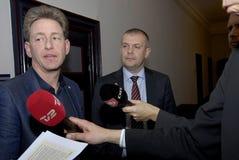 Bjarn Corydon财务大臣(R) Flemming Vinther CFU (L) 免版税库存照片