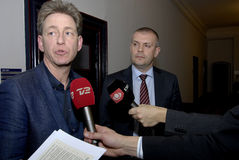 Bjarn Corydon财务大臣(R) Flemming Vinther CFU (L) 库存照片