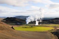 Bjarnarflag geotermal Triebwerkanlage Lizenzfreie Stockbilder