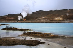Bjarnarflag geotermisk kraftverk - Island arkivbilder
