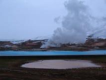 Bjarnarflag geotermiskt icelandic landskap Arkivfoton