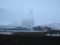 Bjarnarflag geotermiskt icelandic landskap Arkivbild