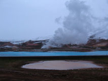 Bjarnarflag, geothermische isländische Landschaft Stockfotos