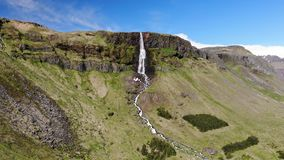 Bjarnarfoss waterfall, Snæfellsnes, Iceland. Panoramic view of beautiful Bjarnarfoss waterfall in summer, Snæfellsnes, Iceland stock video footage