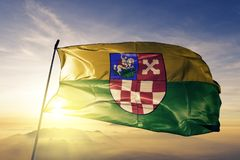Bjelovar-Bilogora County of Croatia flag textile cloth fabric waving on the top sunrise mist fog. Bjelovar Bilogora County of Croatia flag textile cloth fabric stock photo