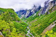 The Bjoreia river down Voringsfossen waterfall - Norway Stock Photography