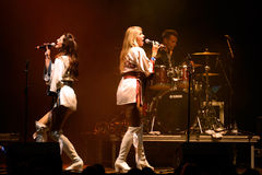 Bjorn Again (band tribute to ABBA) performs at Golden Revival Festival. BARCELONA - JUL 24: Bjorn Again (band tribute to ABBA) performs at Golden Revival Royalty Free Stock Images