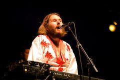 Bjorn Again (tributo da faixa a ABBA) executa no renascimento dourado Fotos de Stock