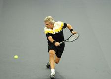 Bjorn Borg of Sweden in actions. Bjorn Borg of Sweden actions during an exhibition tennis match against John McEnroe of the U.S. in Kuala Lumpur. November 18 Stock Image