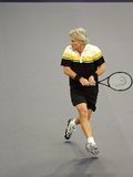 Bjorn Borg of Sweden in actions. Bjorn Borg of Sweden actions during an exhibition tennis match against John McEnroe of the U.S. in Kuala Lumpur Stock Photos