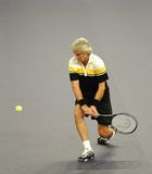 Bjorn Borg of Sweden in actions. Bjorn Borg of Sweden actions during an exhibition tennis match against John McEnroe of the U.S. in Kuala Lumpur. November 18 Stock Images