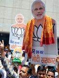 BJP支持者在印度庆祝纳伦德拉穆迪胜利  免版税库存照片