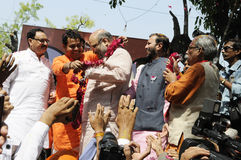 Bjp party workers celebrating during the  election in India. Royalty Free Stock Photography