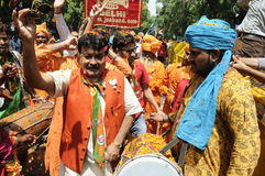 Bjp party workers celebrating during the  election in India. Stock Photo