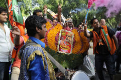 Bjp party workers celebrating during the  election in India. Royalty Free Stock Photo