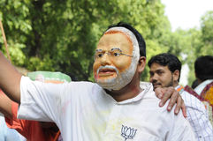 Bjp party workers celebrating during the  election in India. Stock Images