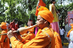 Bjp party workers celebrating during the  election in India. Royalty Free Stock Images