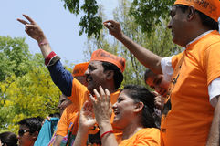 Bjp party workers in India. Stock Photos