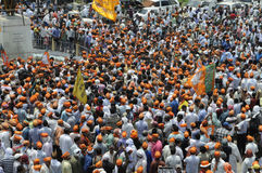 BJP rally in front of BHU . VARANASI - MAY 8: BJP supporters thronging their national leaders in front of the Madan Mohan Malaviya statue  during a political Stock Photos