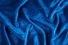 Błękit marszczący aksamit Zdjęcia Royalty Free