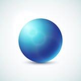 Błękitna glansowana sfera odizolowywająca na bielu Zdjęcie Stock
