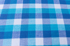 Błękitna i biała tablecloth tkaniny tekstura Obrazy Royalty Free