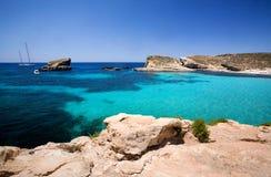 błękitna laguna Malta Zdjęcia Royalty Free