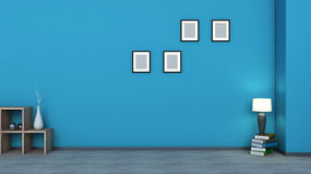 błękitne wnętrze Drewniana półka z wazami, książkami i lampą, Obrazy Stock