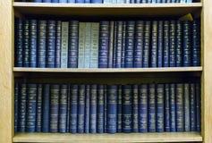 Błękitnego prawa książki w półka na książki Zdjęcia Royalty Free