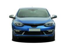 Błękitnego samochodu osobowego frontowy widok Fotografia Royalty Free