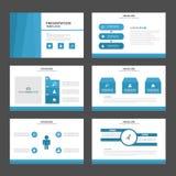 Błękitni wieloboka 3 prezentaci szablonu Infographic elementy i ikona płaski projekt Zdjęcia Stock