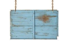 Błękitny drewniany znak Obrazy Stock