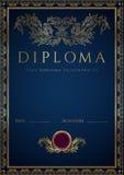 Błękitny dyplomu, świadectwa tło z granicą/ Zdjęcia Royalty Free