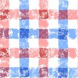 Błękitny i różowy pastel barwił w kratkę grunge gingham bezszwowego wzór, wektor Obrazy Royalty Free
