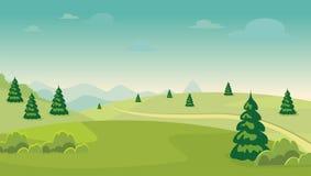 błękitny kreskówki pola krajobrazu natury drogi niebo piękny scenary z płaskim projektem Obraz Stock