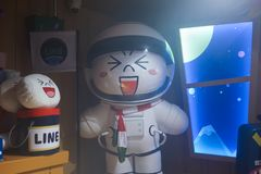 BKK - Dec 22, 2018 : A photo of Moon as a spaceman. Moon is ine friends characters in line village. Line village Bangkok is the royalty free stock photos