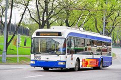 BKM 3210. MOSCOW, RUSSIA - MAY 5, 2012: Blue BKM 3210 trolleybus at the city street Stock Image