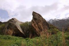 bkoken心脏石头在丙氨酸Archa国家公园在5月,吉尔吉斯斯坦 图库摄影
