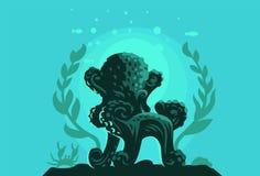 Bläckfisk i form av en stol royaltyfri illustrationer