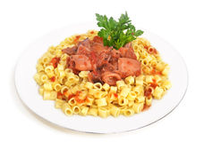 Bläckfisk med spagetti och persilja royaltyfri foto