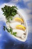 Bläckfisk med tomatsås Royaltyfri Foto