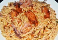 Bläckfisk och tioarmad bläckfisk med pasta royaltyfri fotografi