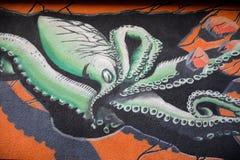 Bläckfisken som målar på en byggnad Arkivfoto