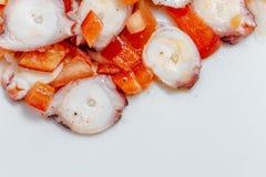 Bläckfisksallad med tomaten, röd peppar, löken, olivolja, vinäger och saltar Arkivfoton