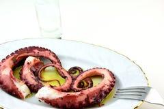 Bläckfisktentakelmeze och ouzo royaltyfri foto