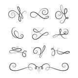 Bläddra beståndsdelar, uppsättning av calligraphic karaktärsteckningar för tappning royaltyfri illustrationer