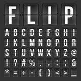 Bläddra för kalenderklocka för nedräkning digitala nummer och bokstäver vektoralfabet, stilsort, symboler för flygplatsbrädeankom stock illustrationer