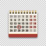 Bläddra kalendersymbolen med ett tydligt datum på genomskinlig bakgrund Uppgifts-, schema-, tidsbeställnings- eller stopptidbegre stock illustrationer