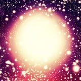 Blänka bakgrund med cirklar, stjärnor och galaxen Jullig Royaltyfria Bilder